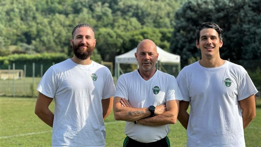 Da sinistra a destra: il preparatore atletico Davide Mazzonetto, mister Massimo Milazzo e il fisioterapista Filippo Zoppelletto